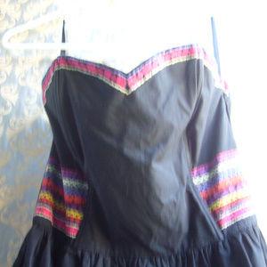 H&M Dresses - H & M Black Strapless Embroidered Dress - Size 8